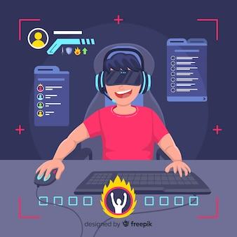 コンピューターで遊んでいるゲーマー