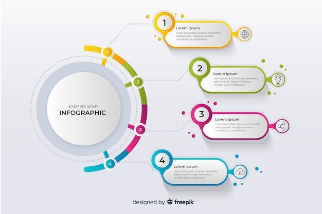 カラフルなインフォグラフィックステップフラットデザイン