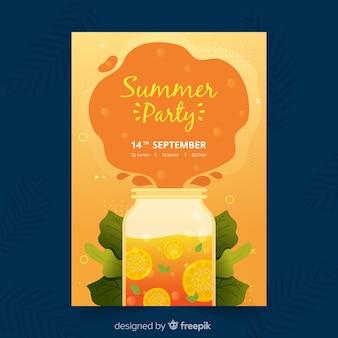 平らな夏のパーティーポスターテンプレート