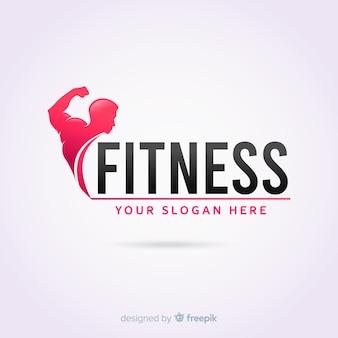 Фитнес логотип шаблон плоский дизайн
