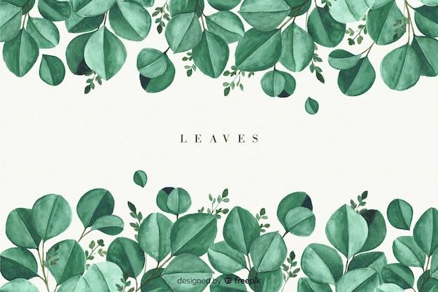水彩の自然な背景の葉