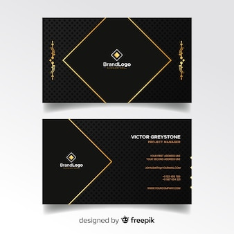 Плоский элегантный шаблон визитной карточки