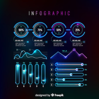 未来的なインフォグラフィック要素のコレクション