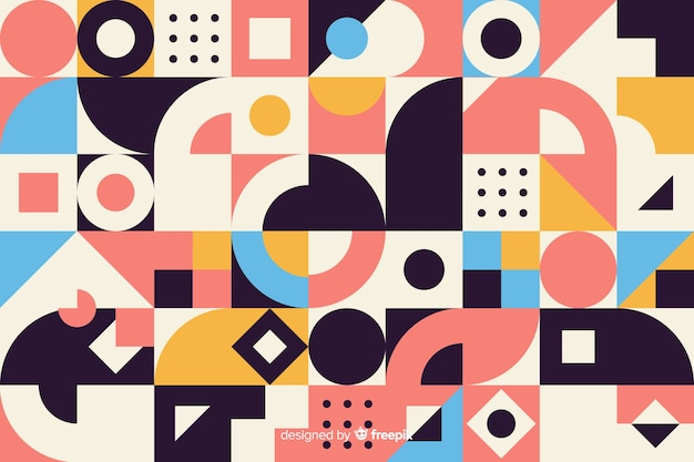 カラフルな幾何学的形状のモザイクの背景