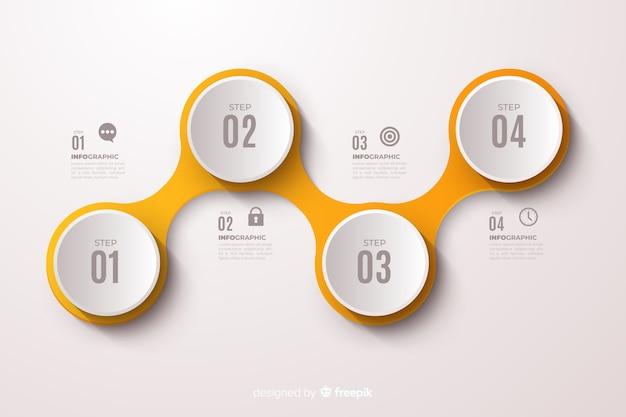 黄色のインフォグラフィックステップフラットデザイン