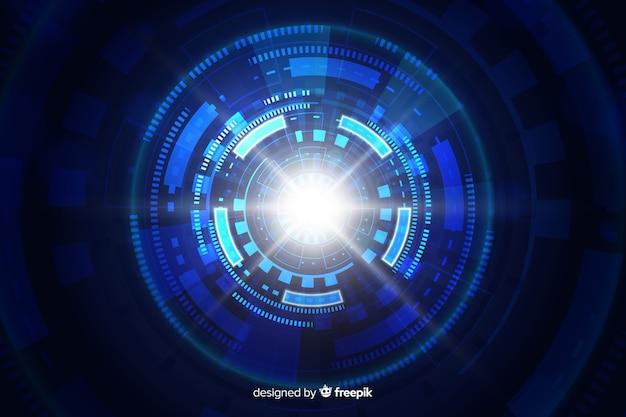 技術的な光のトンネルの未来的な背景