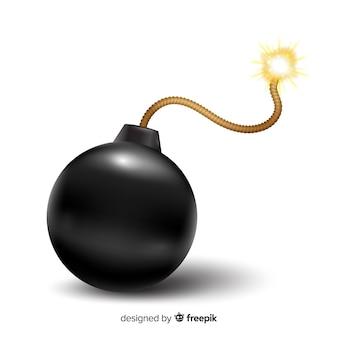 Круглая черная бомба в реалистичном стиле