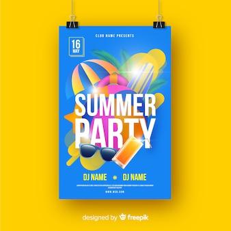 Реалистичная летняя вечеринка постер шаблон