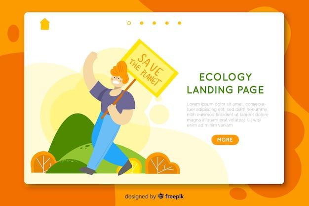 Нарисованный рукой шаблон целевой страницы экологии