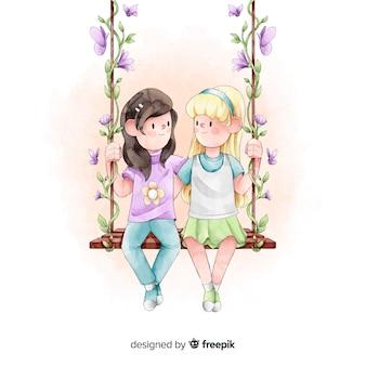 友情日背景水彩画スタイル