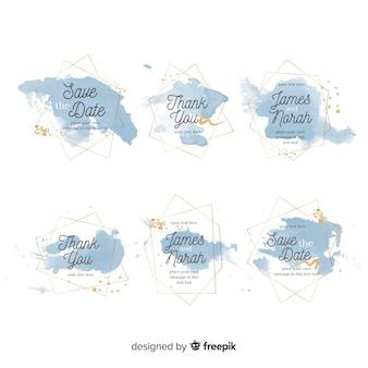 Акварельные пятна коллекция свадебных значков