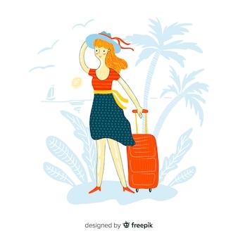 Девушка путешествует рисованной дизайн