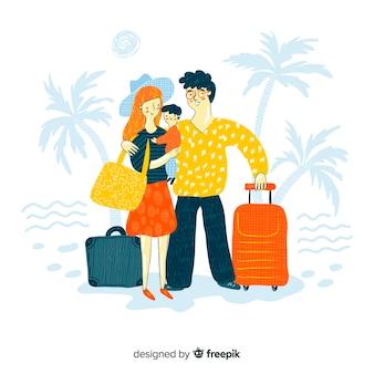 家族旅行手描きデザイン