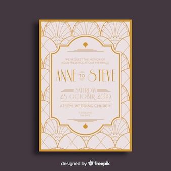 エレガントなアールデコ結婚式の招待状