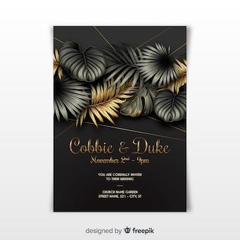 熱帯の葉を持つエレガントな結婚式の招待状のテンプレート