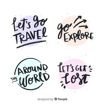カラフルな旅行レタリングバッジコレクション