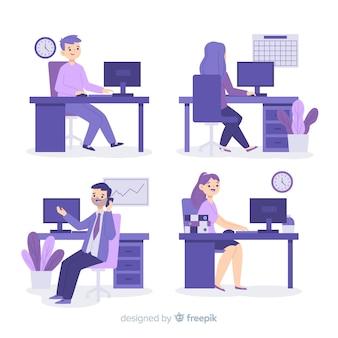 オフィスで働いている人々のイラスト