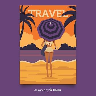 Винтажный туристический плакат плоский стиль