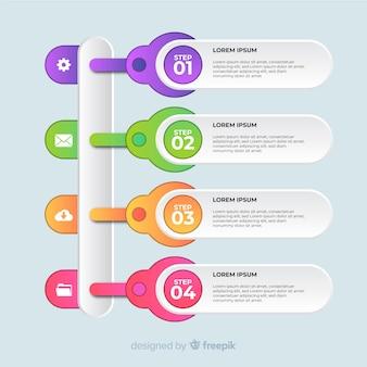 Современный красочный инфографики шаги шаблон