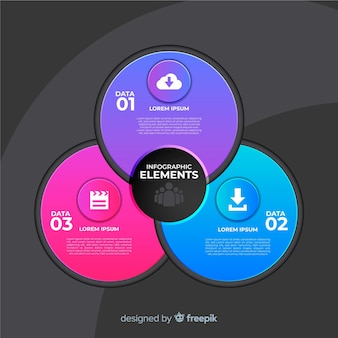 グラデーションスタイルの円形のインフォグラフィックテンプレート