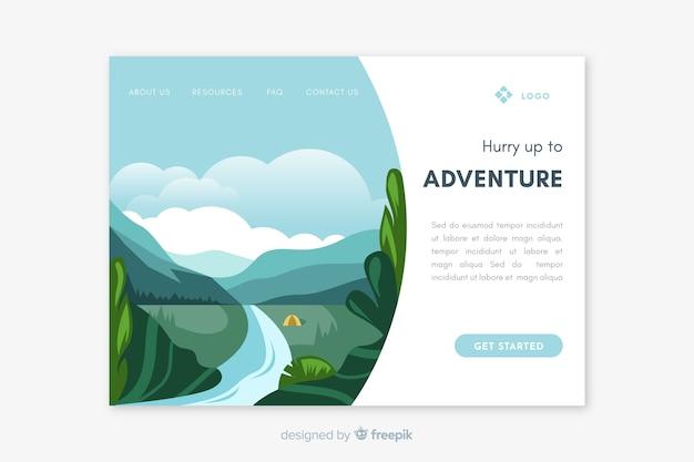 Шаблон целевой страницы туристического пейзажа
