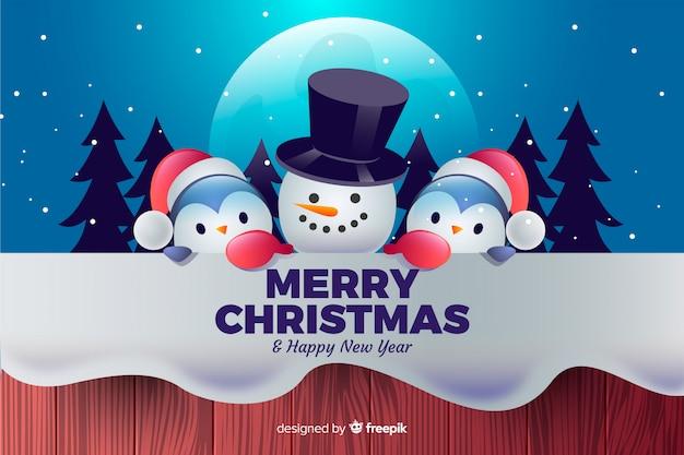 Симпатичные рождественские персонажи фон