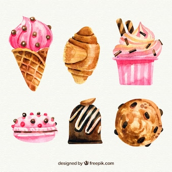 Вкусные акварельные десерты