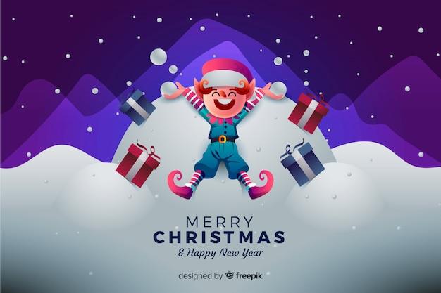 幸せなエルフとクリスマスの背景