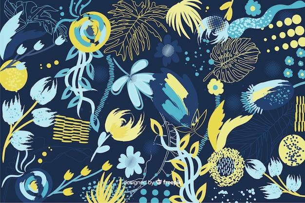 塗られた様式の抽象的な花の背景