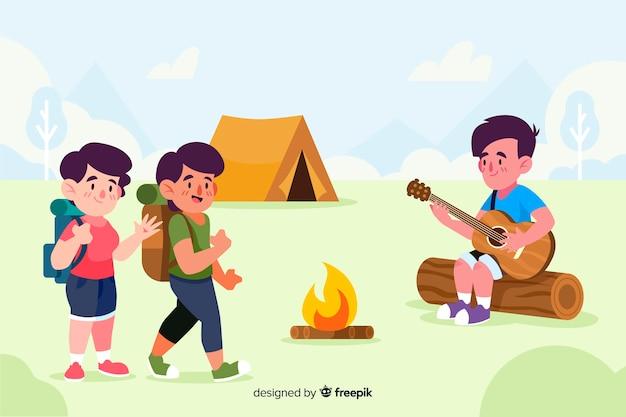 キャンプに行く人々の背景