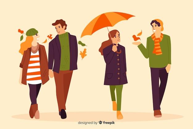 秋のフラットスタイルで歩く人