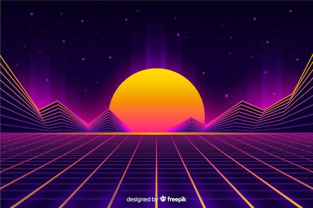 レトロなスタイルの未来的な風景の背景