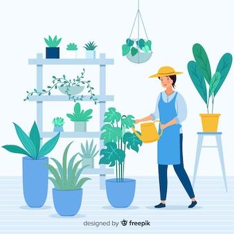植物の世話をする女性