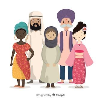フラットなデザインの人々の多民族のグループ
