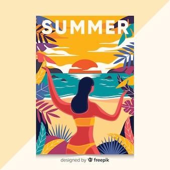 夏のイラストが描かれたポスターを手します。
