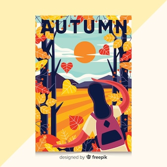 秋のイラストと手描きのポスター