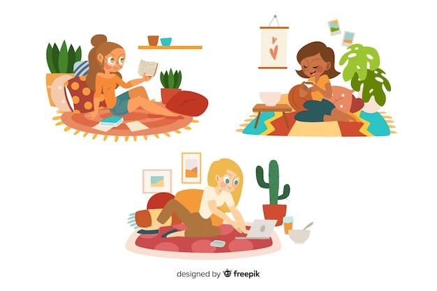 自宅で素晴らしい時間を過ごしている女性
