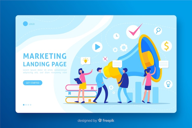 マーケティングランディングページのフラットデザイン