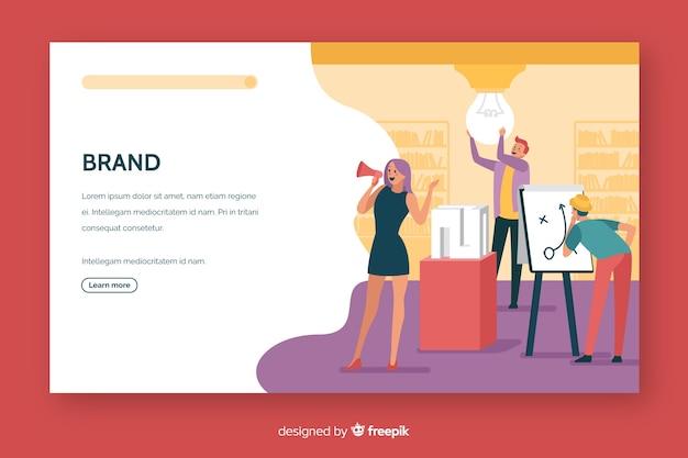 ブランドコンセプトのランディングページのフラットデザイン