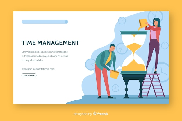 時間管理ランディングページフラットデザイン