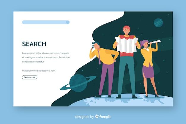 Поиск концепции целевой страницы плоский дизайн