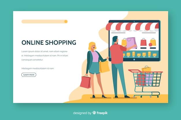 オンラインショッピングのランディングページのフラットデザイン