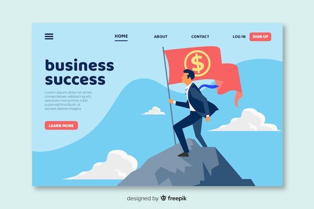 ビジネスランディングページフラットデザイン