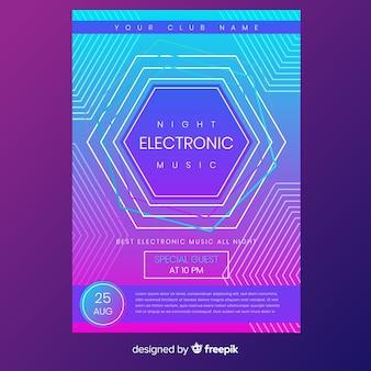 抽象的な電子音楽ポスターテンプレート