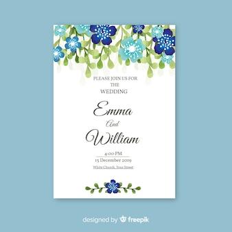 エレガントな花の結婚式の招待状