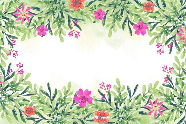 Акварель цветок и листья фон