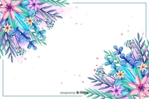 水彩画の花と葉の背景
