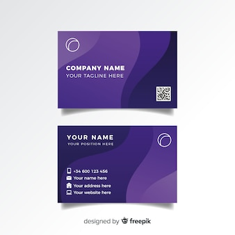 Шаблон визитной карточки абстрактная волна