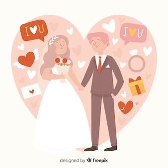 Свадебная пара рисованной стиль