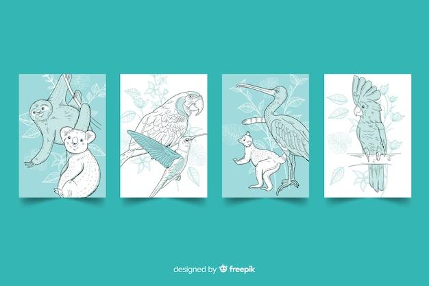 野生動物カードのコレクション